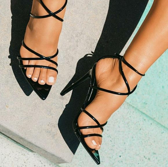Open Toe Black Pointy Sole High Heels